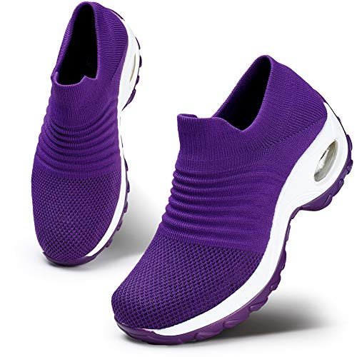 HKR Womens Walking Shoes Lightweight Platform Slip On Sneakers Comfortable Knit Mesh Working Shopping Shoes All Purple 10(ZJW1839chunzise43)