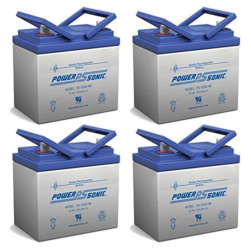 Powersonic 12V 35AH SLA Battery for Ego Cycle 2 Classic Scooter - 4 Pack