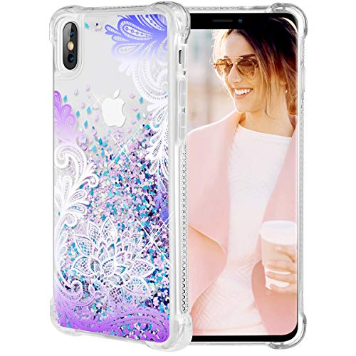 Caka iPhone X Case, iPhone Xs Floral Glitter Case Flower Pattern Series Girls Luxury Fashion Bling Flowing Liquid Floating Sparkle Glitter Cute Soft TPU Case for iPhone X/XS (Gradient Lace)
