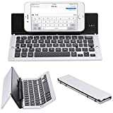 NOVT Foldable Ultra-Slim Aluminum Bluetooth Keyboard with Tablet/Phone Stand for iPhone 7 Plus/7/6s,iPad 4/3/2, iPad Pro 9.7, iPad Air 2/1,iPad mini 4/3/2, Samsung Galaxy Android Smart Phones (Silver)