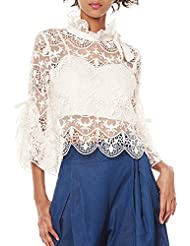 Gracia Bell Sleeve Lace Blouse with Bustier