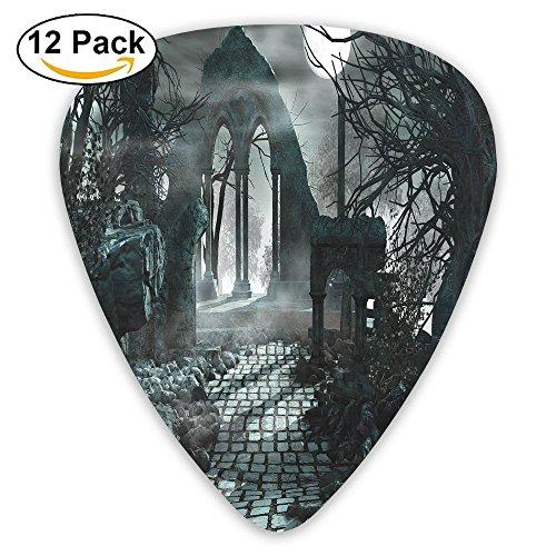 Newfood Ss Full Moon Light Over Medieval Temple Ruins At Night Dark Scary Backdrop Image Guitar Picks 12/Pack Set - Medieval Twelve Light