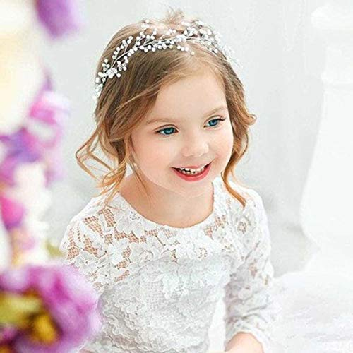 Unicra Bride Wedding Pearl Hair Vines Crystal Babys Breath Headpieces Wedding Hair Accessories for Women and Girls -