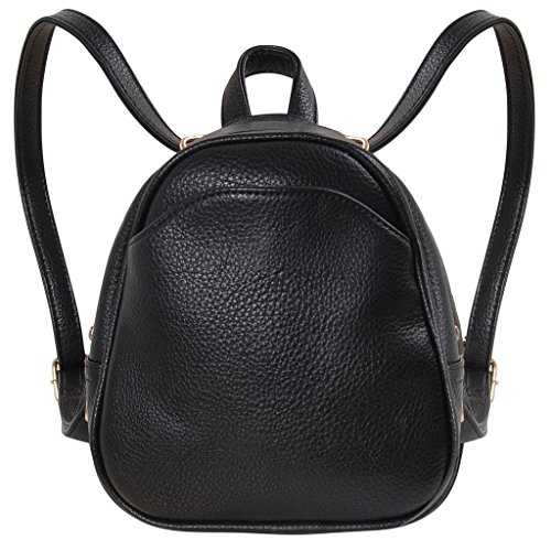 Humble Chic Mini Vegan Leather Backpack - Convertible Shoulder Purse Handbag Tiny Crossbody Bag, Black