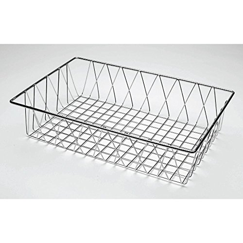 Grid Plated Chrome (HUBERT Commercial Wire Display Basket Rectangular Chrome Plated Pastry Basket Bakery Tray- 18