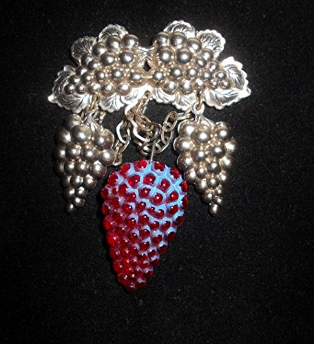 Figural Glass (Vintage Silver Toned & Vintage Fuchsia Art Glass Figural Festoons of Dangling on Chains Bunches of Grapes Brooch. Pendant Converter Included.)