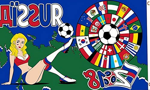 (Kaputar World Cup 2018 Flag with Girl 3x5 ft Country Flags Soccer Football Russia | Model FLG - 7325)