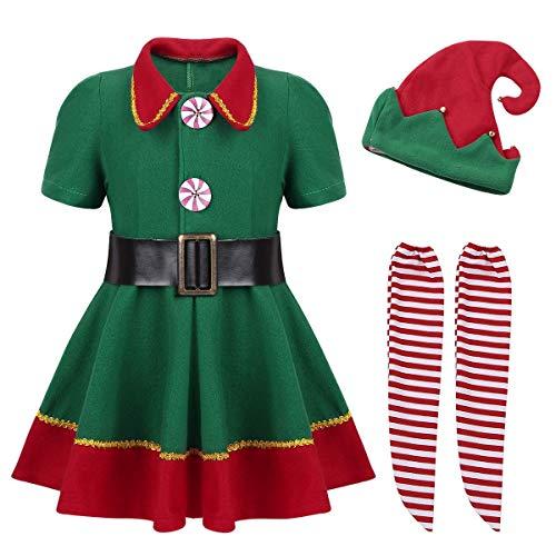 iiniim Kids Children Boys Girls Christmas Santa's Elf Costume Outfit Cosplay Party Fancy Dress up Suit with Hat Set (9-10, Green Girls) -