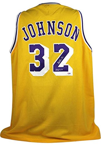 Lakers Magic Johnson  HOF 02  Signed Yellow Jersey - PSA DNA Certified - 01bf46c4b