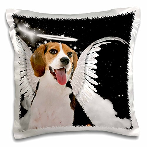 3dRose pc_62896_1 Beagle Angel Dog with Clouds, a Cute Halo and Angel Wings-Pillow Case, 16 by 16