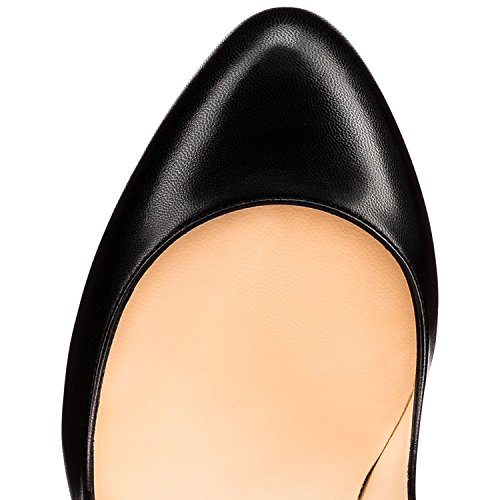 Soireelady Womens Round Toe High Heel Court Shoes 10cm Slip On Pumps Black Vjjpj5uGw