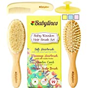 4 Piece Baby Hair Brush Set with Natural Hair Products: Baby Brush, Cradle Cap and Baby Comb | Baby Essentials or Baby Registry for Baby Shower | Baby Gift Set for Newborn, Toddler or New Mom