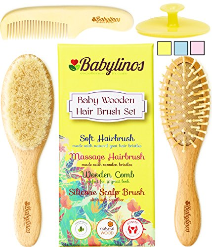 Baby Massage Treatment (4 Piece Baby Hair Brush Set with Baby Brush, Cradle Cap Brush or Scalp Brush, Natural Bristle Brush or Massage Brush and a Baby Comb, Perfect Gift Sets for Baby Shower or Gifts for New Moms (Yellow))