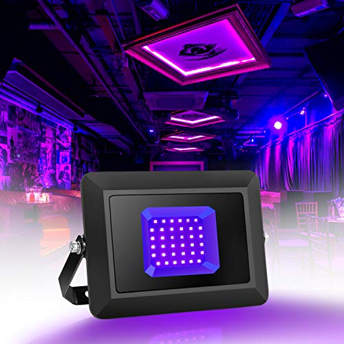 Fitfirst UV Black Light, LED Ultra Violet Flood Light, Ultrathin 18W Waterproof IP65, for Black Light Party Supplies, Body Paint, Glow in The Dark, Fluorescent Poster, Aquarium