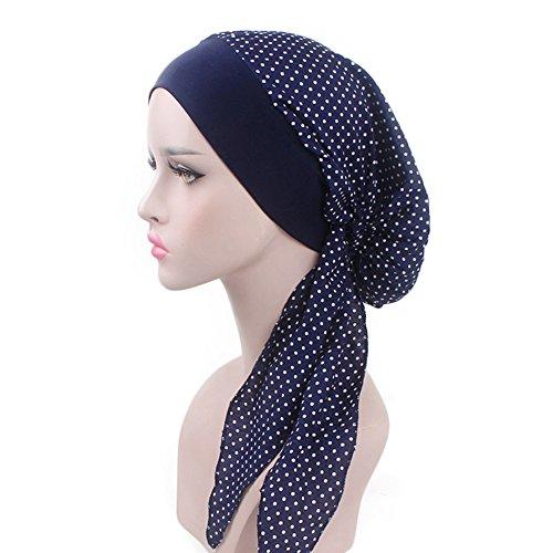 Dots Hair Bands - Vintage Women Elastic Wide Band Head Scarf Cotton Turbans Dot Print Bonnet Multifunction Night Sleep Hat Chemo Hair Loss Wrap Cap (Dark Blue)
