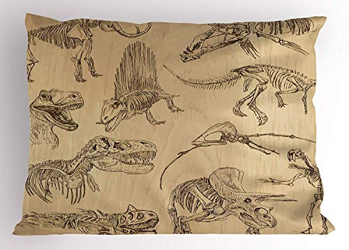 Nextchange Dinosaur Hand Drawn Style Skeletons Bones From Medieval Times Archeology Theme Sand Brown Army Green Pillowcase Decoration For Sofa Bed Chair Car (Two Sides) Pillow Cover Size 16x24 IN