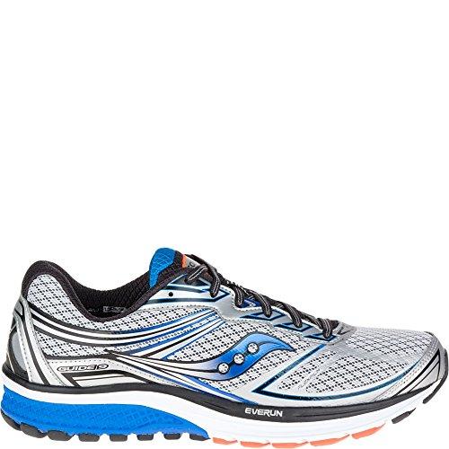 Saucony Men's Guide 9 Running Shoe, Silver/Blue/Orange, 12 M US