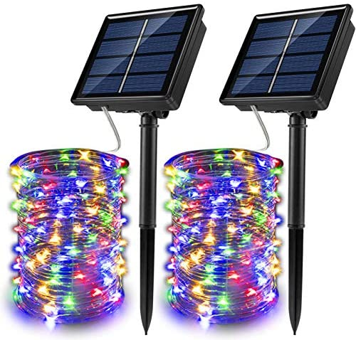JosMega Upgraded Solar Powered String Fairy Lights 2 Pack 72 ft 200 LED 8 Modes Waterproof IP65 Twinkle Lighting Indoor Outdoor Fairy Firefly Lights Auto ON Off 2 Pack 72 ft 200 LED, Multicolor