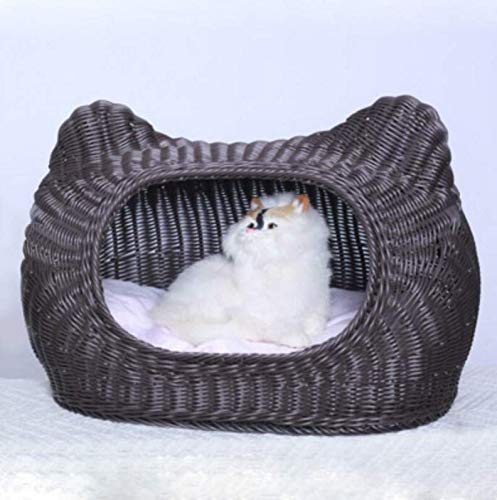 MARIS Rattan Cat Litter Summer Washable Small Pet Nest Cat House Small Dog Kennel,Dark coffee 38x66x30cm