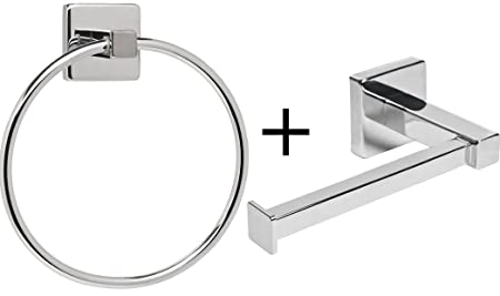 Home Treats Silver Square Bathroom Toilet Roll Holder U0026 Towel Ring Set