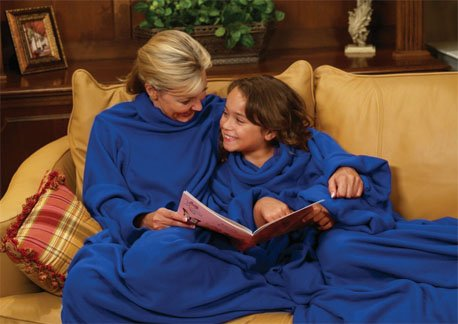 Snuggie Soft Fleece Blanket with Sleeves and Pockets, Solid Blue