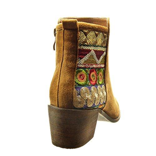 Angkorly - Chaussure Mode Bottine cavalier femme finition surpiqûres coutures flashy Talon haut bloc 5.5 CM - Camel
