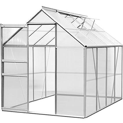Deuba Aluminium Gewächshaus | 7,63m³ | 250x190cm | Treibhaus Gartenhaus Frühbeet Pflanzenhaus Aufzucht