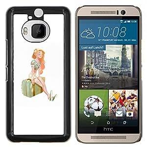 "Be-Star Único Patrón Plástico Duro Fundas Cover Cubre Hard Case Cover Para HTC One M9+ / M9 Plus (Not M9) ( Chica estación Viajes Arte Maleta Pintura Verano"" )"