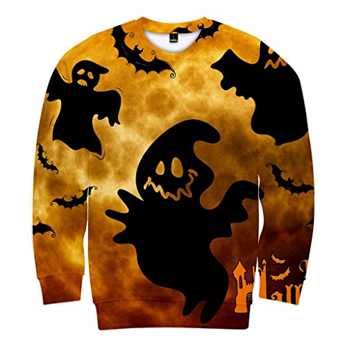 NIUQI Mens Casual Scary Halloween Lover 3D Print Party Long Sleeve NOhoodie Top - Lover Ornament