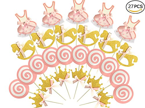 Baby Shower Favor Kits (27-pac Pink and Gold Girl Baby Shower Cupcake Toppers Picks, Glitter Crown Dress Trojan Lollipop Cake Toppers, Girls Birthday Party Favor Decoration Kit)