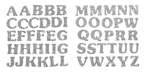 Darice Foamie Alphabet Glitter Stickers, 2 Sheets, Silver (Silver Glitter Sticker Letters)