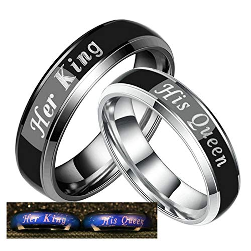 Aooaz Bands Wedding Woman Shower Rings Stainless Steel Engraved Her King and His Queen Duck Band Wedding Rings for Men Women 9 & Men 5 -