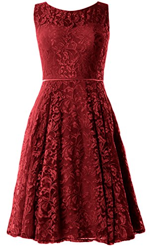 MACloth Women Lace Cocktail Dress Vintage Knee Length Wedding Party Formal Gown Burgundy