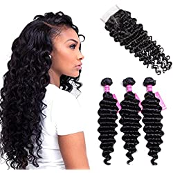 "VRVOGUE Brazilian Deep Wave with Closure 100% Unprocessed Human Hair 7A Grade Brazilian Virgin Hair 4"" 4"" Lace Closure Natural Color Hair Weave Human Hair Extensions (14 16 18+12 In Free Part Closure)"