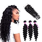 VRVOGUE Brazilian Deep Wave with Closure 100% Unprocessed Human Hair 7A Grade Brazilian Virgin Hair 4×4 Lace Closure Natural Color Hair Weave Human Hair Extensions (16 18 20+14 Free Part Closure) For Sale
