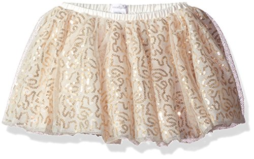 Mud Pie Baby Girls' Multi-Layered Tulle Sparkle Tutu Ballerina Skirt, White/Gold Sequins, ONE SIZE