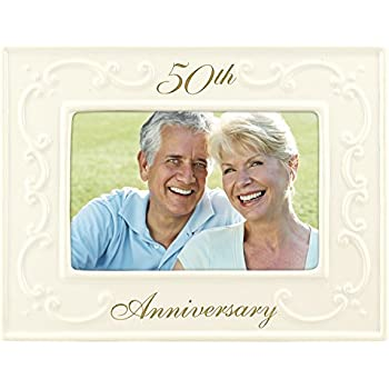 Malden International Designs Glazed Ceramic With Gold Accents 50th Anniversary Picture Frame, 4x6, White