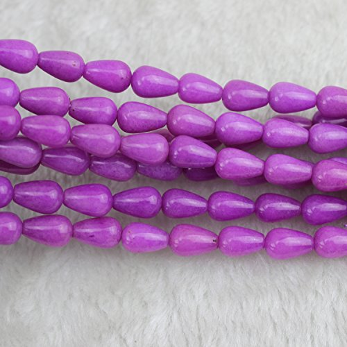 8x12mm Teardrop Purple Jade Beads Loose Gemstone Beads for Jewelry Making Strand 15 Inch (31-33pcs) ()