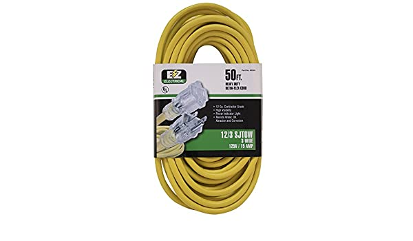 EZ-FLO 60988 Lighted Power Extension Cable cord 50 Yellow EZFLO