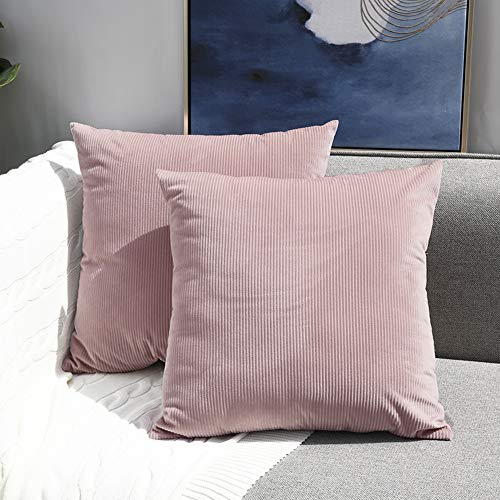 Sunfay Throw Pillows Set Decorative Soft Corduroy Solid Striped Covers for Sofa Couch Bedroom 18