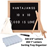 "10x10 Wood Felt Letter Board + Sorting Tray Organizer + 790 (450 1"" + 340 3/4"") White Letters Black Felt Letter Boards…"