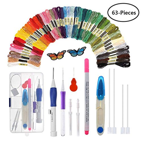 Yuccer Magic Embroidery Pen, Punch Needle Kit Sewing Knitting Tools for Beginners Including 50 Color Threads Butterfly Patterns by Yuccer