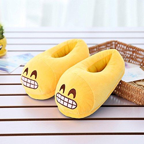 Vrouwen Emoji Katoen Indoor Slippers Cartoon Pluche Slaapkamer Vloer Schoenen Enkellaarsjes Giechelen