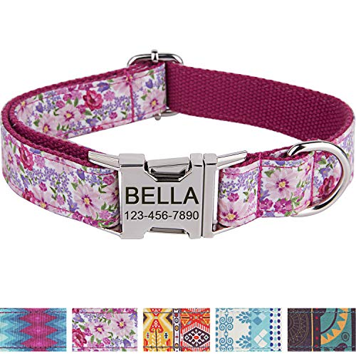 Personalized Dog Collar/Premium Custom Dog Collar with Name Plated/Stainless Steel Quick Release Buckle/Fashion Patterns Dog Collars/Laser Engraved/Pink Flower Pattern in ()