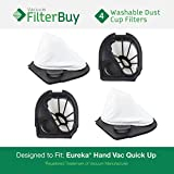 4 - Eureka Quick Up Washable Dust Cup DCF-11 Filters, Part #s 39657, 62558A. Designed by FilterBuy to fit Eureka Vacuum Models 61, 70, 71, 61A, 71A, 70AX, 71A, 71AV, 71B, AG61A, UK61A, Z61A