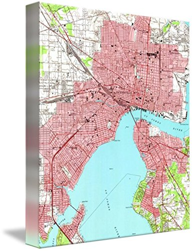 picture about Printable Map of Jacksonville Fl known as : Imagekind Wall Artwork Print Enled Classic Map of