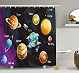 Ambesonne Outer Space Decor Shower Curtain Set, Solar System of Planets Milk Way Neptune Venus Mercury Sphere Horizontal Illustration, Bathroom Accessories, 75 Inches Long, Multi