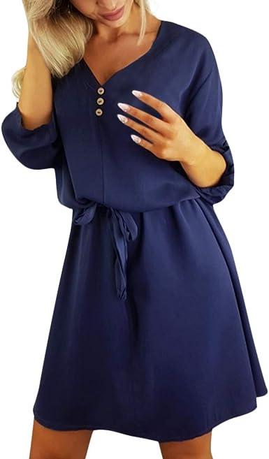 Vectry Vestidos Camiseros Mujer Vestido Escote V Mini Vestido Vestido Verano Vestidos Mujer Vestidos Boda Mujer Vestido: Amazon.es: Ropa y accesorios