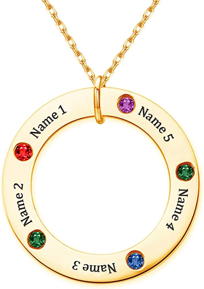 She1001 Custom Family Name Necklace Personalized Tree of Life Mothers Necklaces with Birthstones Pendant for Mom Grandmother