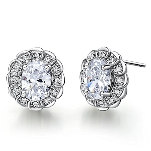 FENDINA Exquisite 18K White Gold Plated Earring Studs Birthstone Oval Cut Tiny CZ Paved Created Diamond Earrings for Women
